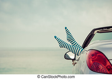 自動車, 旅行, 女, 幸せ