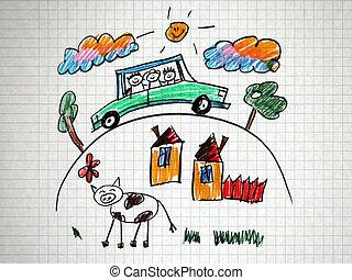 自動車, 旅行, 家族, 幸せ
