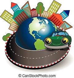 自動車, 旅行, 緑
