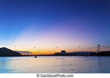 自動車, 日没, 背景, ケーブル, 海岸