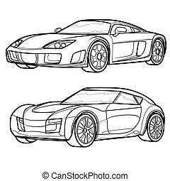 自動車, 本, ベクトル, スポーツ, オブジェクト, 背景, スケッチ, 隔離された, 白, セット, イラスト, 着色