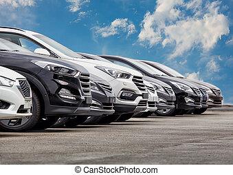 自動車, 横列, セール, たくさん, 株