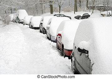 自動車, 横列, 雪が覆われる