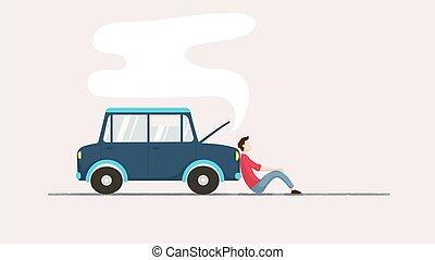 自動車, 次に, 人, 悲しい