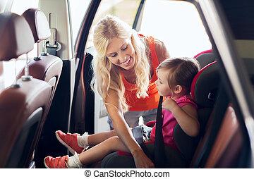 自動車, 母, 席, 子供, 締め具, 幸せ, ベルト