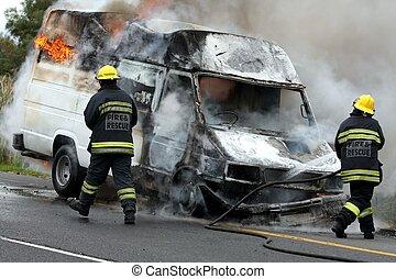 自動車, 消防士, 燃焼, モーター