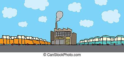 自動車, 漫画, 工場
