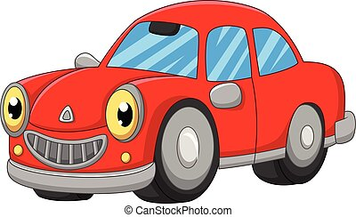 自動車, 漫画, 背景, 微笑, 白い赤