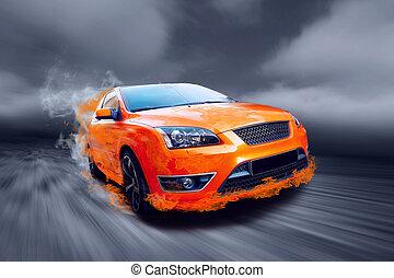 自動車, 火, スポーツ, オレンジ, 美しい