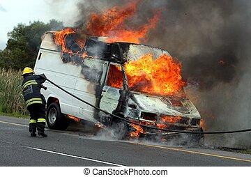 自動車, 燃焼, モーター, 消防士