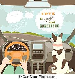 自動車, 犬, 持つこと, ∥(彼・それ)ら∥, 所有者, 旅行