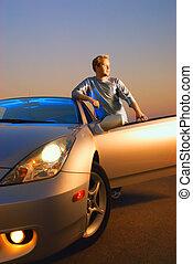 自動車, 現代, 日没, 時間, 人, スポーツ, ハンサム