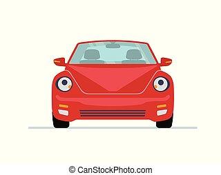 自動車, 現代, 隔離された, バックグラウンド。, 前部, 白, ビュー。, 赤