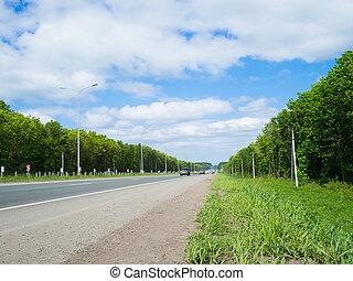自動車, 環境, 引っ越し, 緑, 側, 道