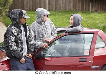 自動車, 男性, グループ, 若い