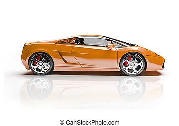 自動車, 白, スポーツ, 背景, 3d