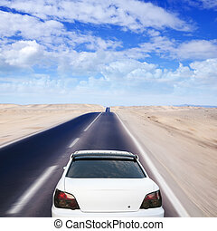 自動車, 白, 砂漠, 道