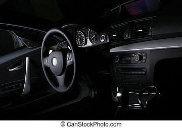 自動車, 白, 黒い背景, 新しい