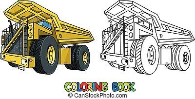自動車, 着色, 面白い, トラック, 重い, 本, ゴミ捨て場, 目