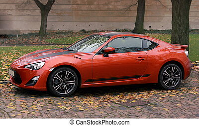 自動車, 秋, 背景, 屋外で, オレンジ, スポーツ, agressive