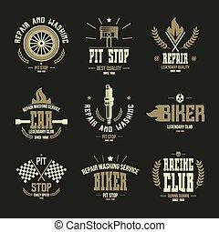 自動車, 競争, バッジ, サービス, ロゴ