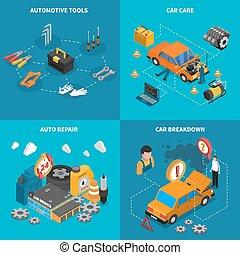 自動車, 等大, サービス, セット, アイコン, 概念
