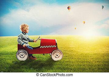 自動車, 緑, プレーする, フィールド, 子供