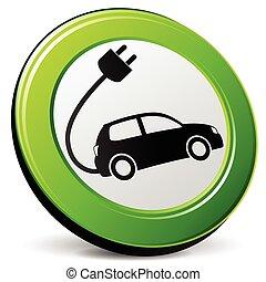 自動車, 緑, 電気である, アイコン