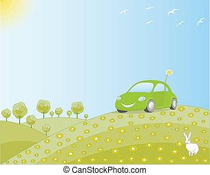 自動車, 緑, eco 友好的, フィールド