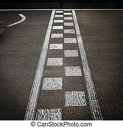 自動車, 線, 終わり, レース