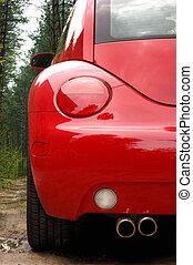 自動車, 背中, 赤