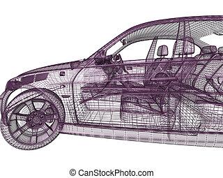 自動車, 背景, モデル, 3d, 白
