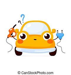 自動車, 自動車, 幸せ, かわいい, 黄色