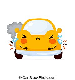 自動車, 自動車, 悲しい, かわいい, 黄色, 壊される