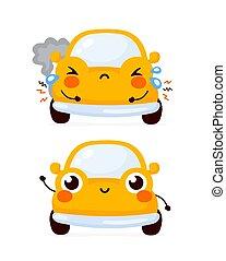自動車, 自動車, 悲しい, 幸せ, かわいい, 黄色, 壊される
