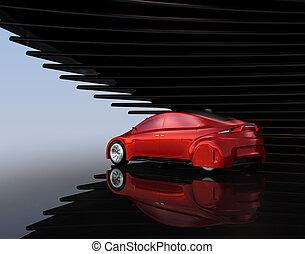 自動車, 自治, 背景, 金属, 抽象的, 赤