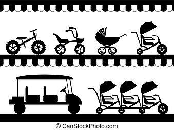 自動車, 自転車, 子供, 自転車, セット, ベクトル, イラスト, stroller, シルエット
