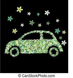 自動車, 花, 緑