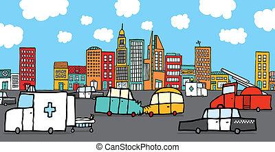 自動車, 衝突される, 囲まれた, サービス 車