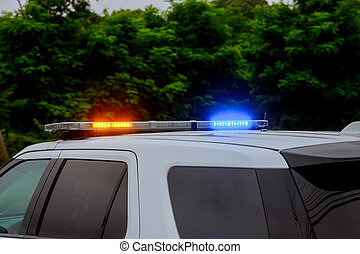 自動車, 警察, サイレン, ぴかっと光る, 道路封鎖ブロック, 赤, の間, 青