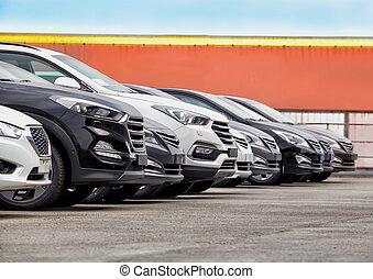 自動車, 販売 のため, 株, たくさん, 横列