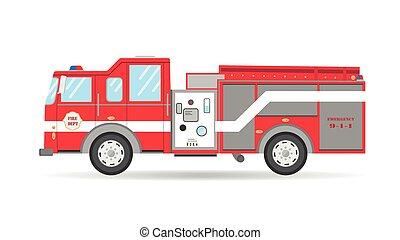 自動車, 車, 緊急事態, アメリカ人, イラスト, firetruck, ベクトル, 漫画, 平ら