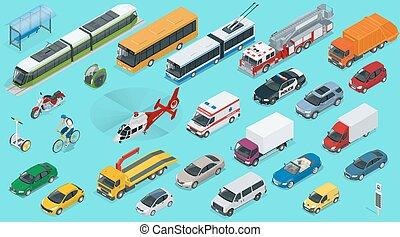 自動車, 輸送, 都市, 等大, タクシー, 列車, set., 旅行, 3d, 平ら, 電気である, 警察, trolleybus, サファリ, セダン, 救急車, アイコン, スクーター, ミニ, fire-truck, 自転車, 地下鉄, バス, cargo-truck