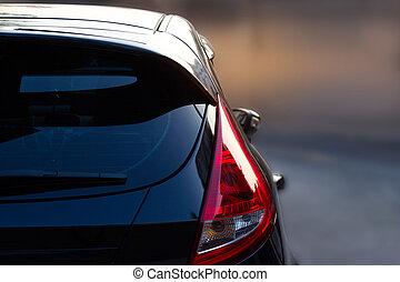 自動車, 通り, 背景, 都市ライト, 背中