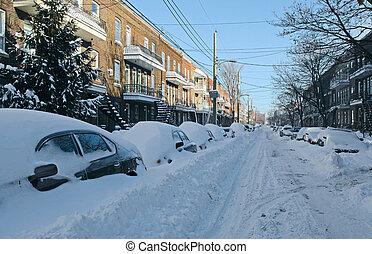 自動車, 通り, 雪が覆われる