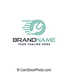 自動車, 速い, レンチ, サービス, ロゴ, logo.