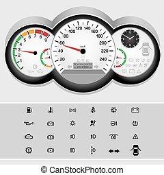 自動車, 速度計, パネル
