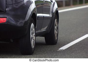 自動車, 運転, 上に, a, 道