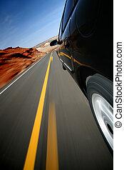 自動車, 運転, 道, 田園