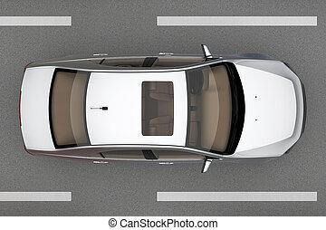 自動車, 道, の上, 光景